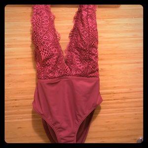 Women's Lace Plunge One Piece Swimsuit | NWOT